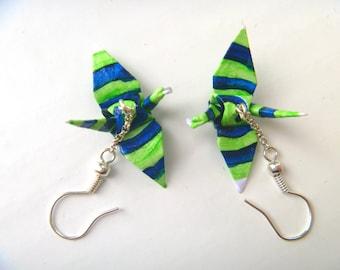 Seattle Seahawks FREE SHIPPING Painted Paper Origami Crane Earrings green & blue  #e737 marlisa