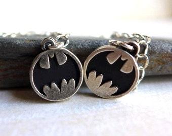Batman Earrings DC Comics Earrings Caped Crusader Black Sterling Silver Gotham Bruce Wayne, Long Dangly Batman Earrings