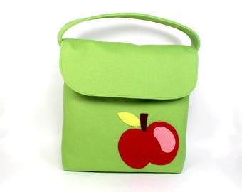 lunch tote for kids | kids snack bag  | organic canvas bag | snack tote  | kids lunch tote | green lunch bag | apple applique lunch box