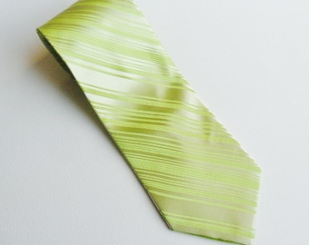 Lime Green Tie Vintage by Thomas Pink Jermyn Street London 100% Silk Striped Smart Formal Wedding Men's Necktie Acceccory Gifts For Him