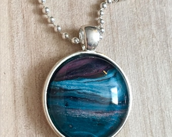 Pendant Necklace, Vintage Retro Vibe, Silver Color, Fashion Jewelry, Boho, Hippie, Abstract Art, One of a Kind, 25mm Cabochon