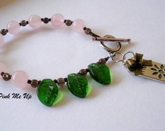 Rose Quartz Beaded Bracelet, Light Pink Bracelet, Pink Quartz Bead Bracelet, January Birthstone, Rose Quartz Smoky Topaz Bracelet