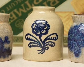 Three Miniature Stoneware Crocks Decorated Cobalt Blue