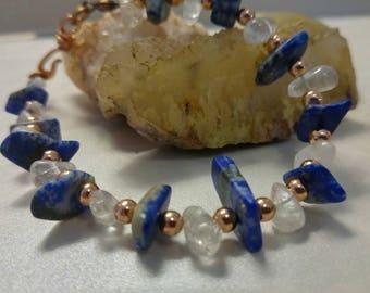 Lapis and Quartz Crystal Bracelet