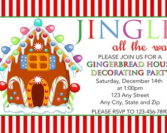 Gingerbread House Decorating Party Invitation, Gingerbread Invitation, Holiday Card, Double Sided, DIY Printable Christmas Card