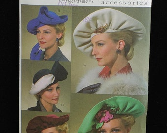 Vogue Accessories Pattern V7838 Womens Vintage Hats 1930's 1940's NEW