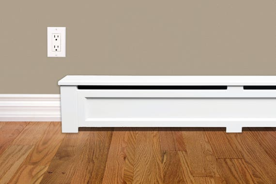 shaker style 6 ft wood baseboard heater cover kit in white. Black Bedroom Furniture Sets. Home Design Ideas