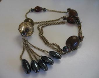 Vintage Long Chunky Tassel Necklace 1970's