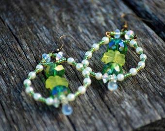 St Patrick Earrings, Green Clover Earrings, Irish Shamrock Earrings, St Patrick Earrings, Four Leaf Clover, Clover Earrings, St Patrick day