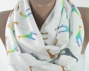 Giraffe Scarf Infinity Scarf Winter Scarf Valentines Gift For Her Gift For Best Friend Gift For Mom Valentines Day Gift White Animal Scarf