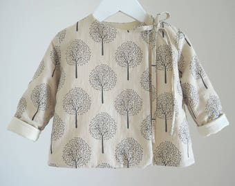 Cotton-linen kids jacket, AUTUMN TREES