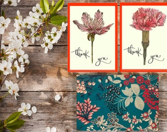 Cherry Blossom & Carnation Thank You Card Set