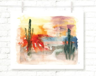 Desert - Sunrise - Cactus - Joshua Tree - Cacti - Watercolor - Art Print - Wall Art