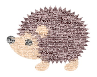 Hedgehog Word Art Print Only, Perfect Gift , Present, Birthday, Christmas