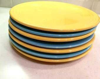 Vintage Fiestaware 9 1/2 Inch Plates Yellow Fiesta Turquoise Fiesta Ware Homer Laughlin Ohio Midcentury Pottery & Yellow fiestaware | Etsy