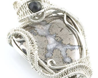Hematite with Quartz Inclusions, with Black Tourmaline Azeztulite, in silver. Releasing New Information For Healing Deep Polarization