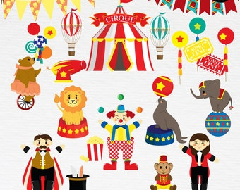 Circus Clipart. Bunting Banners Clipart. Animals Clipart. PNG + Vector. Personal and Commercial Use. Instant download.