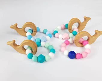Teething toy| Silicone wooden teether| Nautical theme | Whale| Baby boy gift| Baby girl gift|| Teething ring| Sea style| Nautical nursery