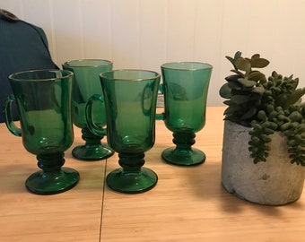 Four Emerald Green Irish Coffee Mugs With Gold Trim From Libbey