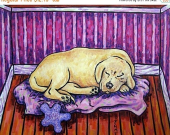 25% off Golden retriever sleeping signed dog art print gift gifts
