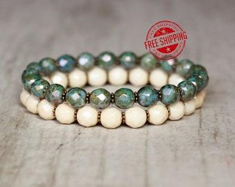 bracelet for women bracelet for her Czech glass beads hippie bracelet set boho chic bracelet stacking double bracelet stretch sister gift