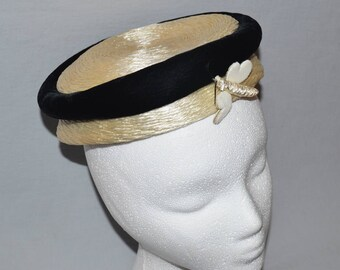 Vintage Ladies' Hat - Straw Boater by Cedarbrook, with Black Velvet Trim and Dragonfly