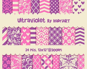Pink and Purple Digital Paper Waves, Hearts, Damask, Chevron, Cherry Flowers, Moroccan