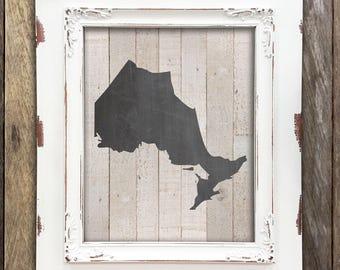 Ontario Map Chalkboard Decor - Canadian Toronto Map Art Print  - Rustic Home Cottage Shabby Chic Decor - Hamilton Ottawa London Kingston