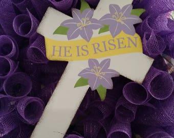 Easter wreath - He Is Risen Cross