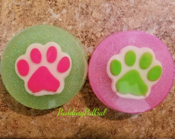 Neon Glow in the Dark Paw Resin Pieces
