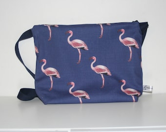 Flamingo print fabric handbag, blue and pink flamingo bag, gift for girls, gift for her, Christmas gift, birthday gift