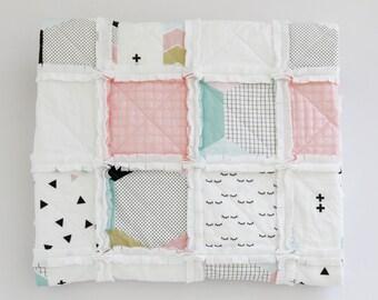 Pastel Cot Quilt. Pastel Rag Quilt. Rag Quilt. Crib Quilt. Modern Cot Quilt. Modern Rag Quilt. Pastel Quilt. Rag Quilt. Baby Blanket.