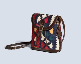 Taban Kilim Leather Bucket Bag