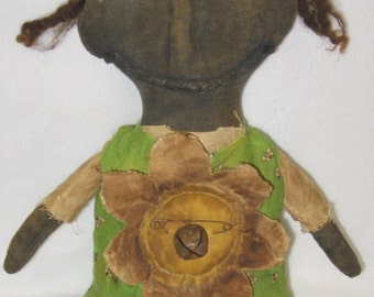 "Angella: Primitive 19"" Black Doll w/ Flower Spring IMMEDIATELY DOWNLOADABLE E-PATTERN"