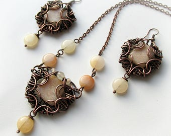 Wire wrapped jewelry set  Boho copper jewelry Aventurine earrings Aventurine jewelry set copper  jewelry wire jewelry Handmade wire jewelry