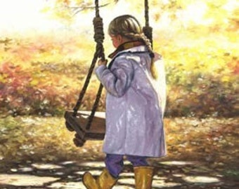 Little Blonde Girl Art Print from painting, yellow, gold, autumn, fall paintings, swing, girls room, braid, wall decor,  Vickie Wade Art