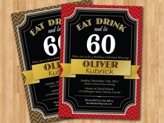60th Birthday Color Ideas: 60th Birthday Invitation. Gold Brown Red Any Color
