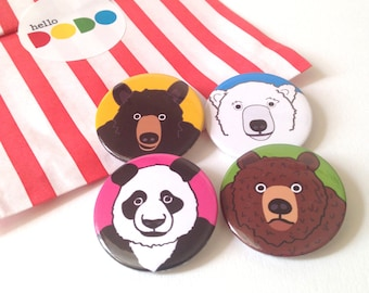 Bear Button Badges, Panda badge, Polar Bear badge, Bear pinback button pack, Animal button badge set, party bag fillers, illustrated badges