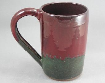 Pottery Beer Mug Red & Green to Black REDGTB35