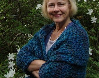 Crochet Shawl, Crocheted Shawls, Shawl Crochet, Shawl, Turquoise Shawl, Crochet Shawls, Emerald Green Shawl, Sister Gift, Mom Gift