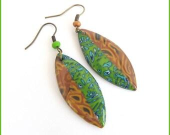 Polymer clay green ochre resin fancy dangling earrings