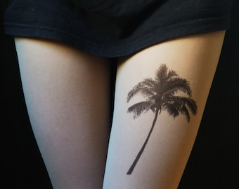 Palm tattoo tights, unique handpainted clothes for tropical party