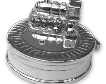 Hallmarked Sterling Silver - Train KEEPSAKE / TOOTH BOX - Christening Gift
