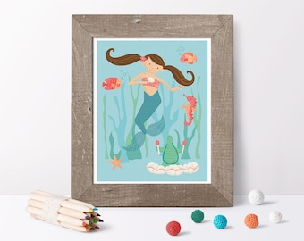 Mermaid print // under the sea nursery // kids print wall art // under the sea print // mermaid décor // sea creature wall art