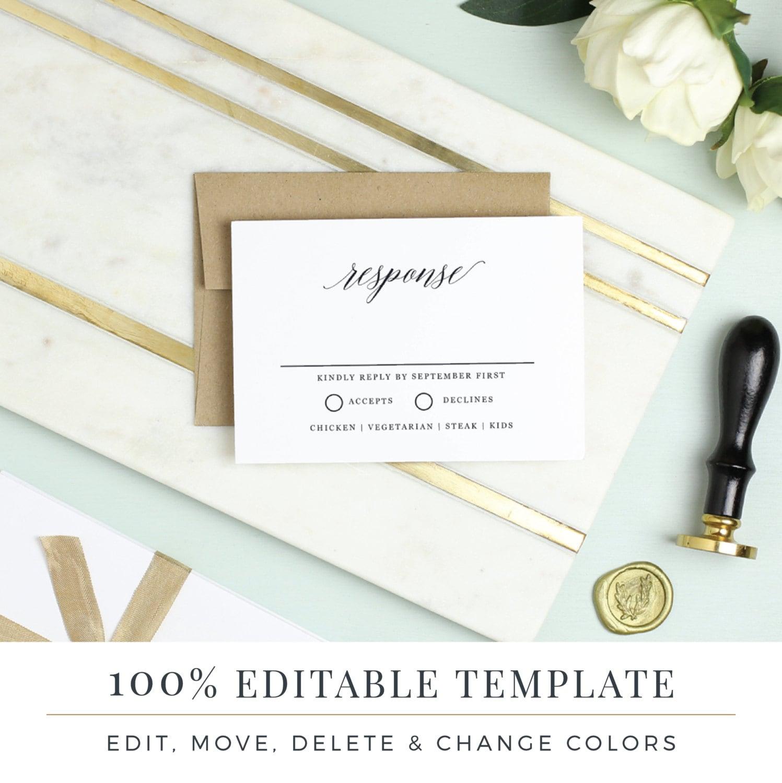 RSVP plantillas boda para imprimir tarjeta de respuesta