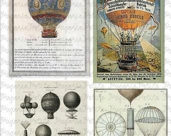 Vintage Hot Air Balloon Digital Download Collage Sheet