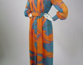 Vintage 70s Orange and Blue Long Sleeve Maxi Dress, Vanity Fair Hostess Gown,  Psychedelic Floral Rayon, B 36 W 26, Boho Festival Clothing