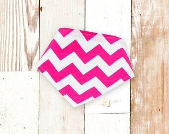 Baby Girl Bandana Bib - Big Pink Chevron ||| baby shower gift, baby gift, baby girl gift, baby girl shower, girl drool bib, chevron bibdana