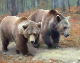 Two Bears, Grizzly Giclee on Canvas