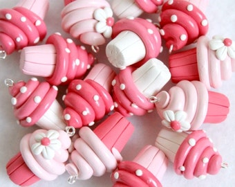 Pink Polymer Clay Cupcake Charms, Set of 6 Charms